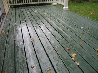 Spruce green on a cedar deck in New York state. Bansiter is painted